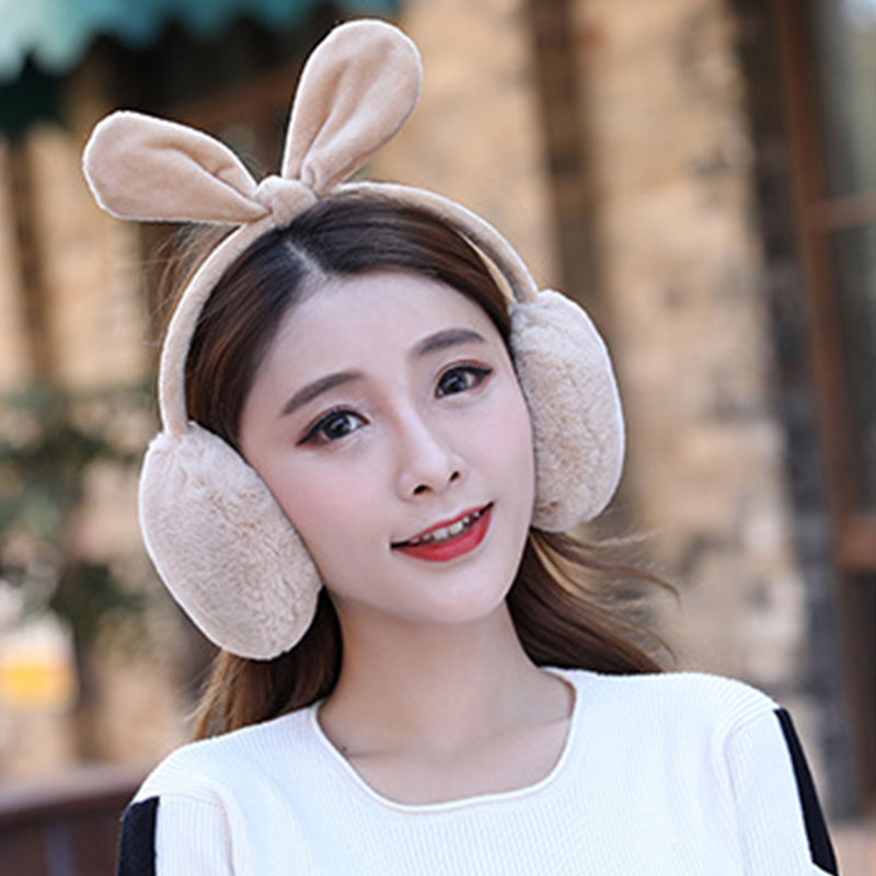 Winter Rabbit Ears Fur Earmuffs Korean Warm Thickened Ear Muffs Candy Color Bow Ear Warmer Comfort Cartoon Girls Accessories