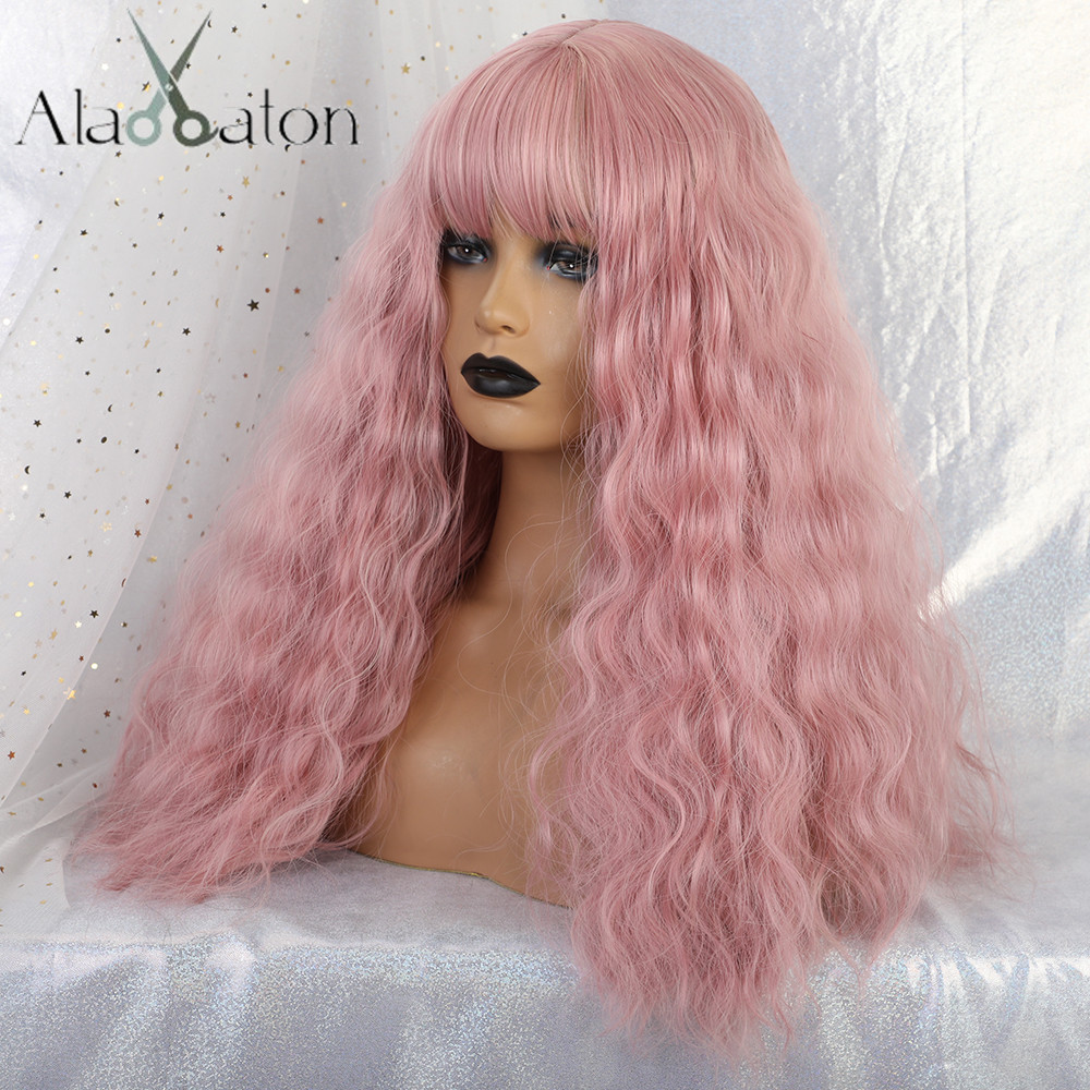 ALAN EATON Long Wavy Women Wigs High Temperature Fiber Synthetic Wigs Long Hair Cosplay Wigs Pink Wig With Bangs Lolita Cosplay