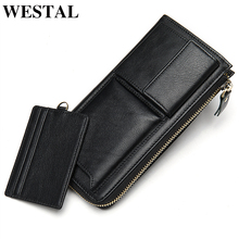 WESTAL men's wallet purse/clutch male genuine leather purse