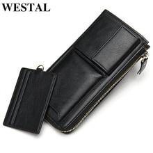 WESTAL men's wallet purse/clutch male genuine leather purse for men leather wall