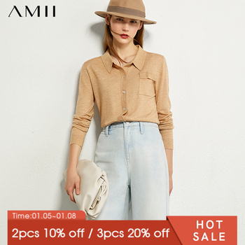 AMII Minimalism Autumn Fashion Knitted Women Sweater Causal Solid Lapel Stretch Single-breasted Female Coat  12040552 - discount item  45% OFF Sweaters