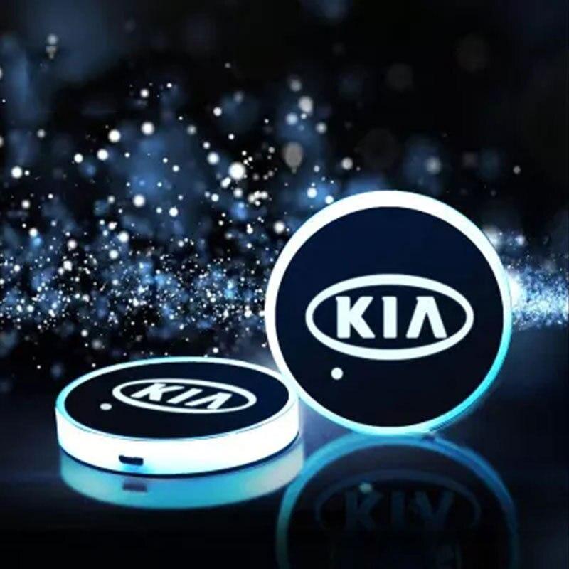 Автомобильный светодиодный умный коврик для чашки, USB-подсветка, светильник для водяного держателя для KIA K3 K4 K5 K7 K9 Sorento Sportage Rio Stonic ceed Venga свет...