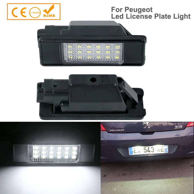 2x <font><b>LED</b></font> Number License Plate <font><b>Light</b></font> for <font><b>Peugeot</b></font> 207 <font><b>308</b></font> Citroen Berlingo C2 C3 Pluriel Baujahr 2004 - 2009 C4 C5 Limousine C6 DS3 image