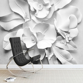 Custom Any Size Mural Wallpaper 3D Stereo Relief Flowers Fresco Living Room Bedroom Background Wall Decor Waterproof Sticker