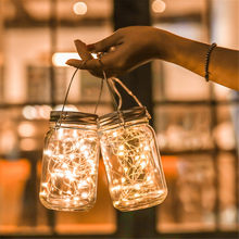 1/2/3/4pcs Solar 20LED Copper Wire String Light Insert Mason Jar Lid Lamps Outdoor/Indoor Waterproof For Garden Holiday Decora(China)