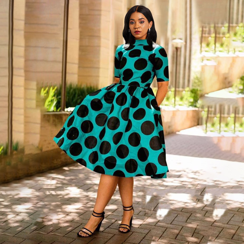 Sisjuly Summer Elegant Party African Plus Size Chiffon Women Dresses Stand Collar Backless Print High Waist Female Fashion Dress