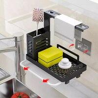 Soporte para cepillo para jabón de esponja de acero inoxidable, organizador Caddy para fregadero de cocina con bandeja de drenaje, estante de secado de cocina Premium