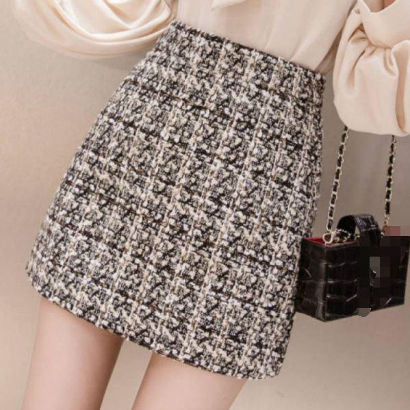 Black tweed skirt 2020 autumn winter women korean elegant plaid jupe femme Cute Bottoms A-Line Short Mini Skirts AR429