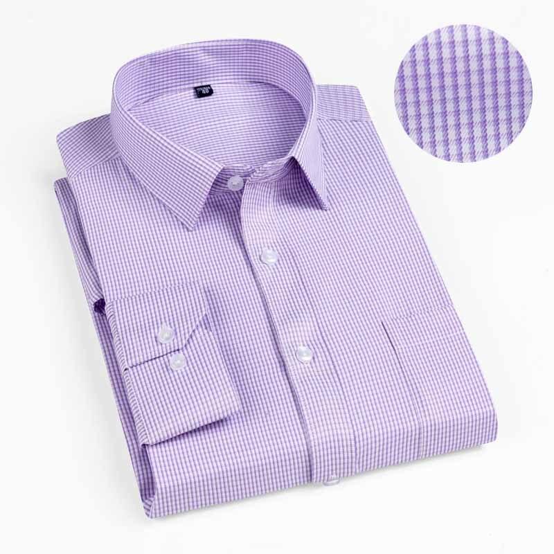 New 2019 Autumn Men Shirt Plus Size Slim Fit 45% Cotton Plaid Men Dress Shirts Regular Long Sleeve Men's Business Casual Shirt 9