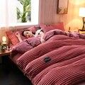 Ab lado veludo conjuntos de cama inverno quente velo folha plana capa edredão folha king size 3/4/pcs cor pura 2019 vinho vermelho lago azul