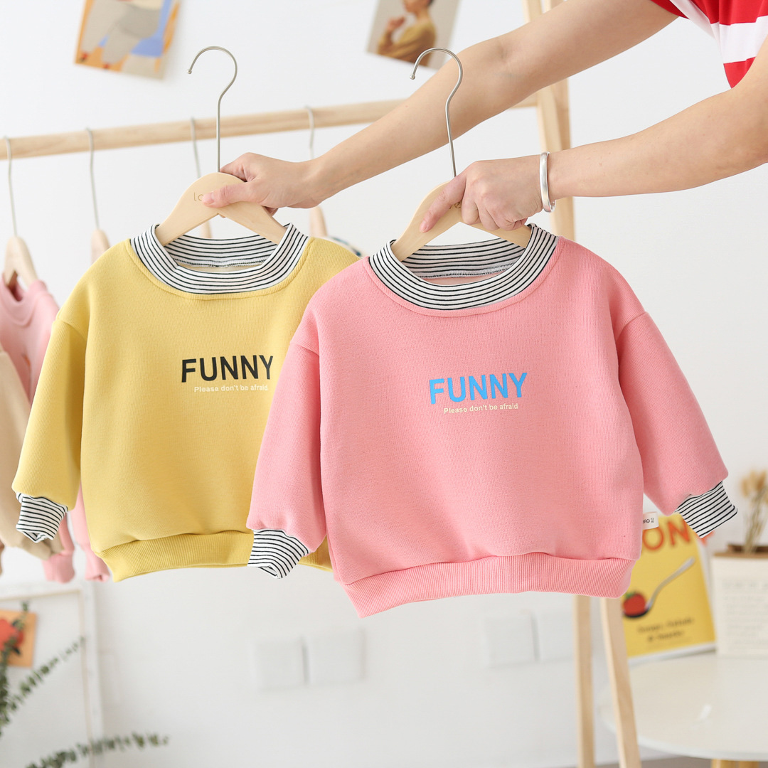 WLG/Зимние толстовки с капюшоном для мальчиков и девочек; детская плотная желтая толстовка с имитацией двух букв; Повседневная