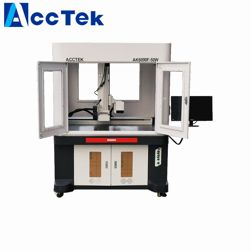 MOPA 30W 60W Fiber Laser Marking Machine For SS CS Iron With Safe Closed Cover