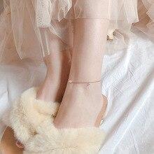 925 пробы Стразы кулон Лаки ноги простой свежий чувство дизайна студентов летний день лодыжки кулон корейский стиль женщин