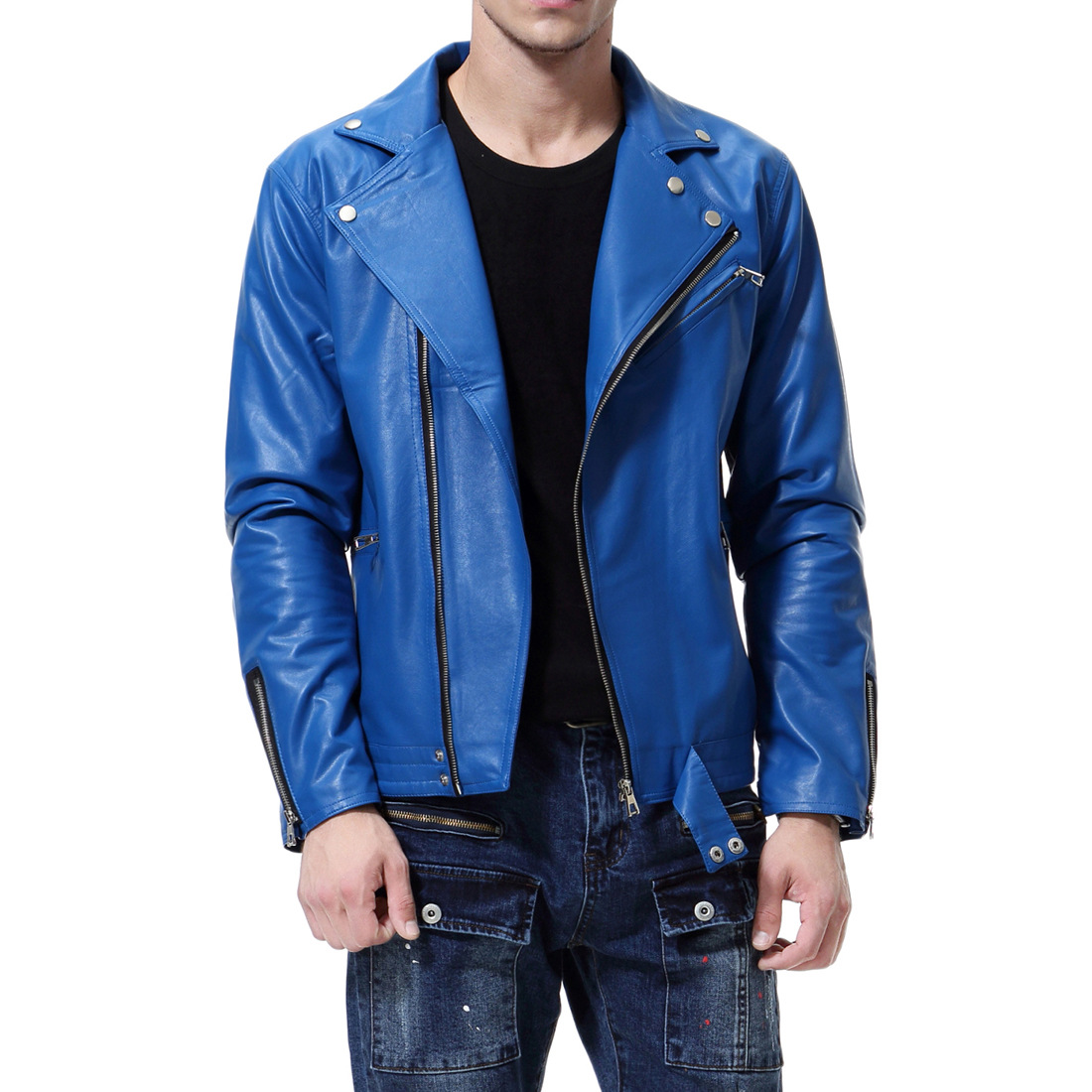 Autumn New Style Men Locomotive Leather Coat Occident Fashion Large Size MEN'S Leather Jacket Y667