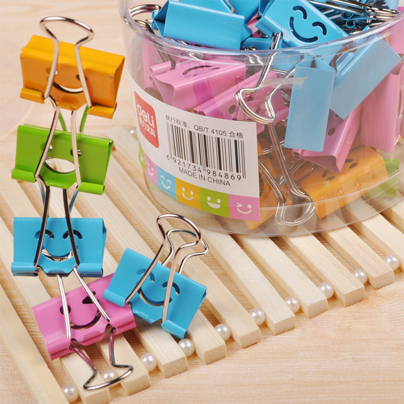 40Pcs Cute Color Metal Clips Smile Face Binder Clips 19mm 25mm Note Letter Photo Test Paper Bill Clips 4 Colors Office Deli 8487