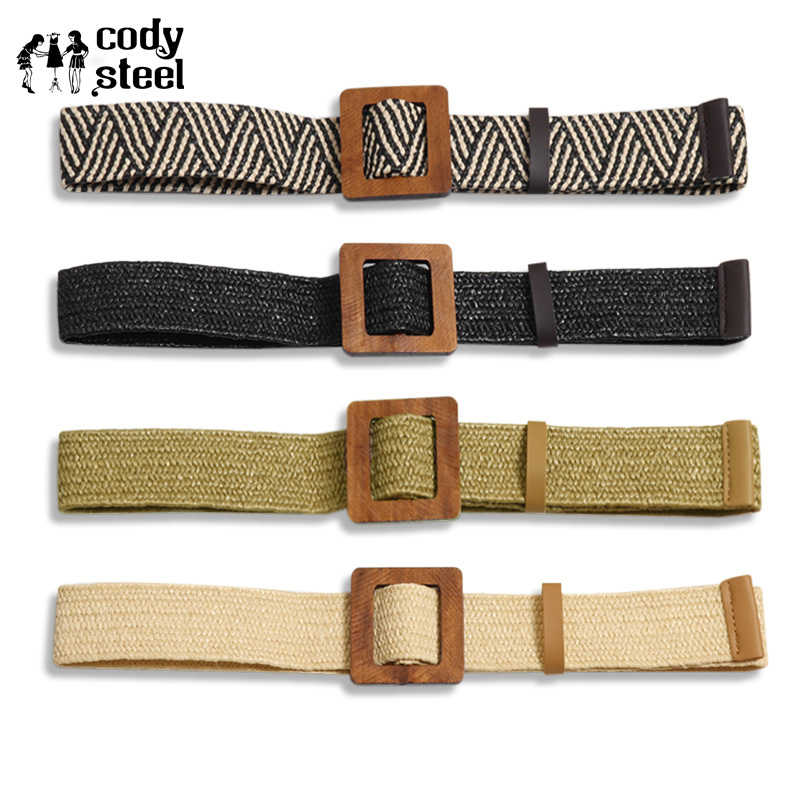 Cody Steel Vintage Boho Braided Waist Belt Ladies Round Wooden Smooth Buckle Wide Belt Fashion Woman