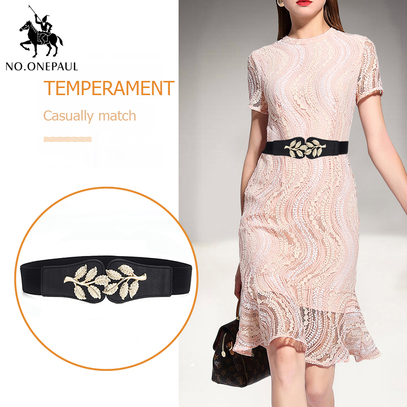 NO.ONEPAUL Golden Leaf Decoration Skirt Ladies Belt Girl Student Casual Fashion Loose Tight Belt New Elastic Band Free Shipping