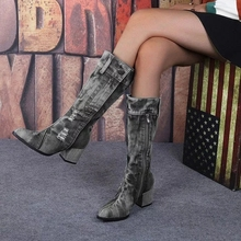 Women Boots Female Winter Shoes Faux Suede Ladies Buckle Strp Mid Calf Square Heel Retro Casual