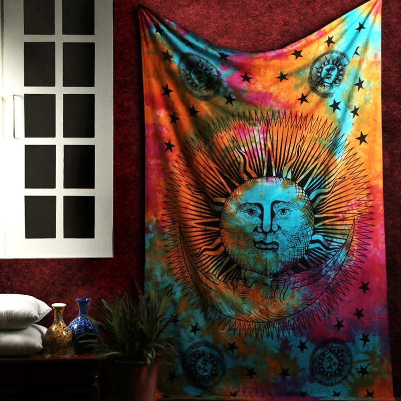 Psychedelic Sun Moon Stars Mandala wall tapestry Hippie Celestial macrame wall hanging India Trippy boho decor Tapestries