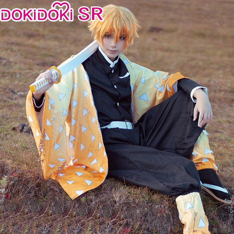 DokiDoki-SR  Anime Demon Slayer: Kimetsu No Yaiba Cosplay Agatsuma Zenitsu Costume Men Cosplay Demon Slayer: Kimetsu No Yaiba