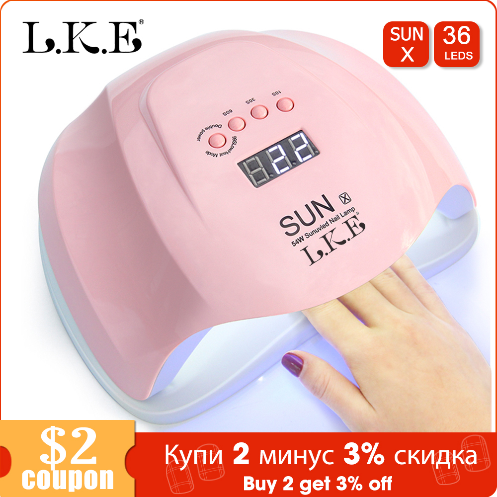 LKE SUNX UV Lamp 54W/48W Nail Dryer Gel Led Lamp For  Nail Drying Manicure Smart LCD Display For All Gel Nail Polish UV Lamp