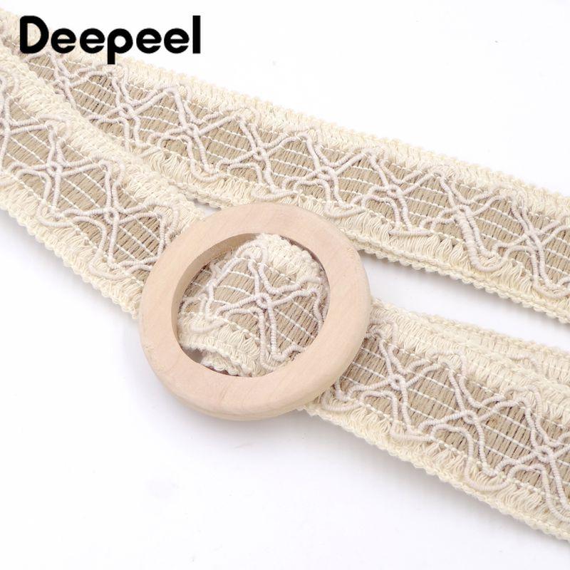 Deepeel 1pc 4cm*110cm Women Wood Buckle Lace Plait Cummerbunds Bohemian Style Casual Girdle With Long Skirt  Lover Gift CB665