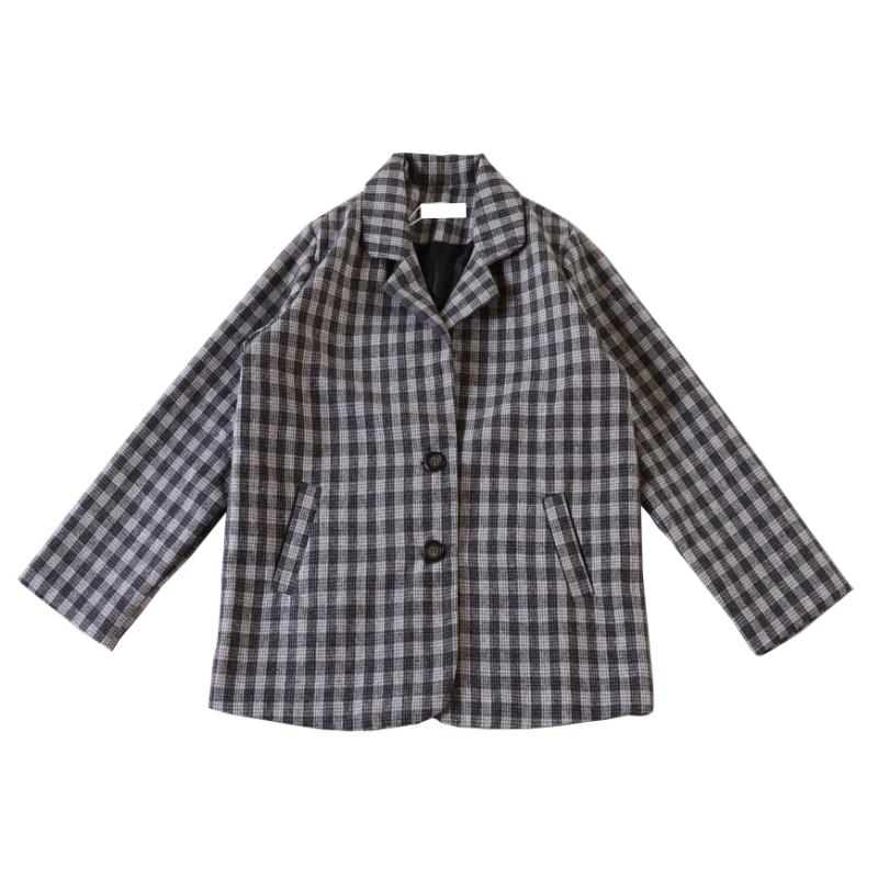 Plaid Simple Ladies Blazer Loose Casual Black Vintage Suit Jacket Long Sleeve Blazer Dames Korean Party Women Jacket New MM60NXZ
