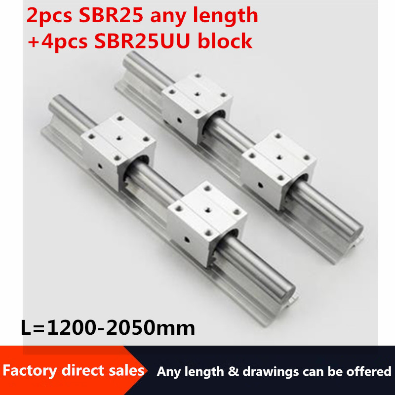 SBR <font><b>linear</b></font> <font><b>rail</b></font> 2pcs <font><b>SBR25</b></font> 25mm <font><b>linear</b></font> <font><b>rail</b></font> 1200mm 1350mm 2000mm any length guide <font><b>rail</b></font> + 4pcs SBR25UU slide block for cnc parts image
