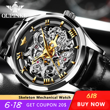 OUPINKE automatic skeleton watch mechanical mens watch top brand Luxury men's business watch clock Montres mecaniques forsining retro fashion black skeleton sport clock mechanical watch luminous hands mesh bracelet for men top brand luxury watch