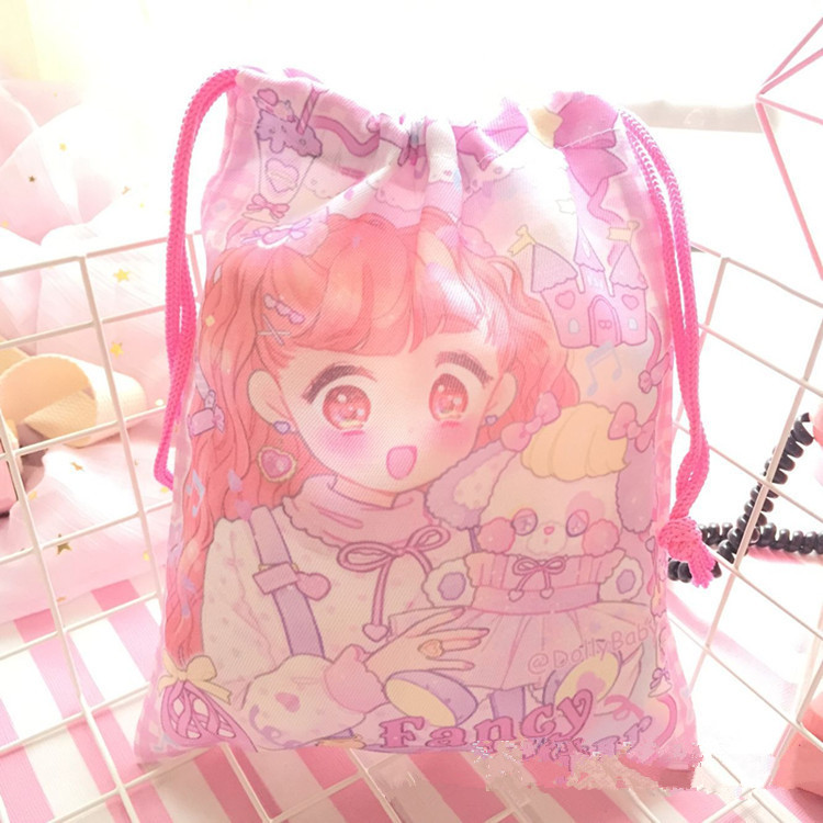 20*23cm Cartoon My Melody Little Twin Stars Cute Mini Coin Portable Bag Girls Travel Storage Drawstring Bags Gifts For Children