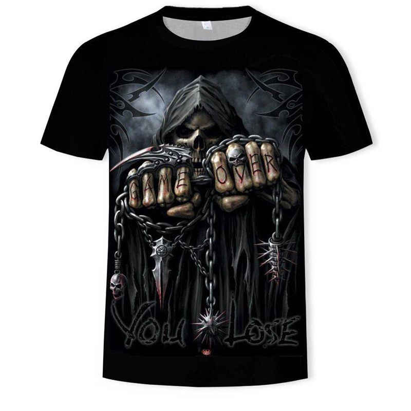 Zomer 2019 Nieuwe Schedel t-shirt Lange mouw Groen Grappige t-shirts Bull Head Rock Dragon Gothic kleding Straat hip hop tops tees
