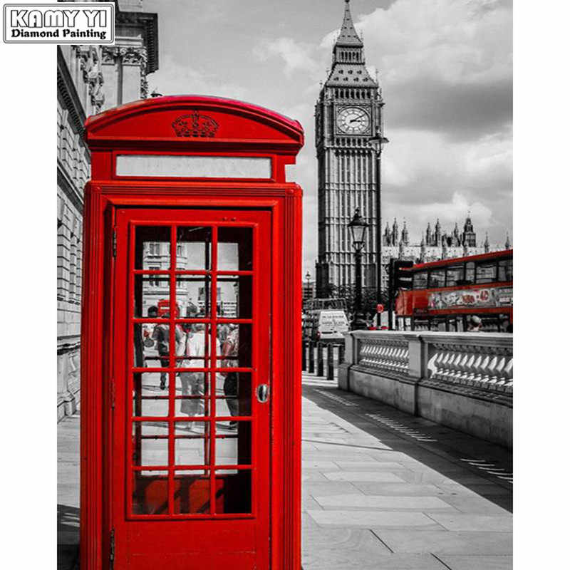 5D DIY Diamant Malerei Landschaft London Roten Telefonzelle, Red Bus Mosaik Kreuz Stich Stickerei Landschaft Big Ben