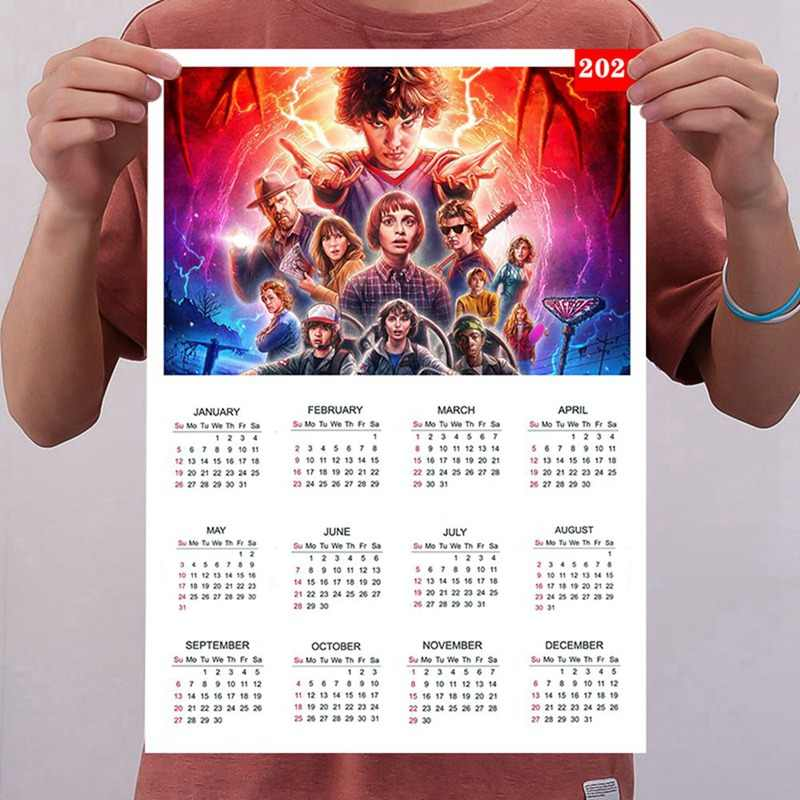 Póster Vintage de Stranger Things 2020 con calendario, póster Retro de Stranger Things 3, póster de Papel kraft para decoración del hogar, la habitación y el Bar