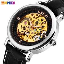 Skmei Heren Automatische Horloges Eenvoudige Holle Grote Wijzerplaat Mechanische Mannen Horloge Waterdicht Lederen Band Mannelijke Klok Hombre 9229