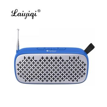 Laiyiqi-Altavoces bluetooth con antena, radio FM, portátil, cinturón de cuero, USB, manos libres, llamadas