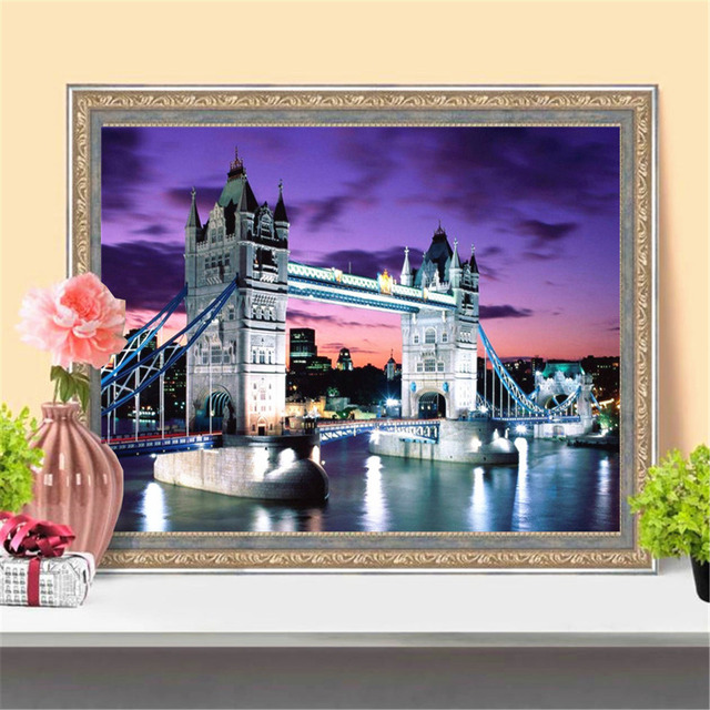 HUACAN 5D DIY Diamond Painting London Bridge Full Drill Square Diamond Embroidery Art Kits Landscape Home