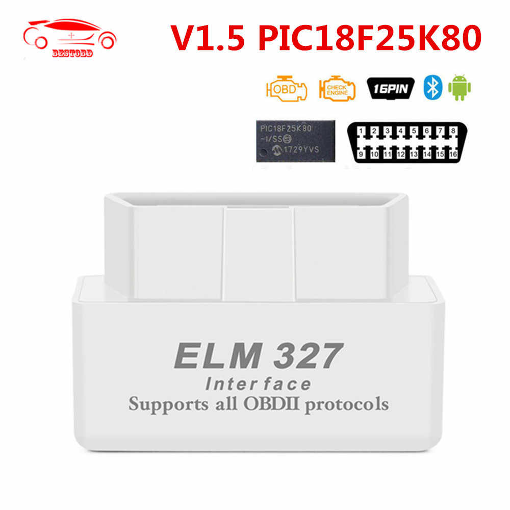 Android のミニ ELM327 v1.5 PIC18F25K80 チップ elm 327 V1.5 bluetooth 2.0 OBD2 車診断ツール obd スキャナ故障コードリーダー