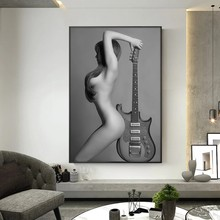 Modern Nude Art Canvas Painting Sexy Naked Girl with Guitar Prints and Posters Cuadros Wall Pictures for Living Room Home Decor