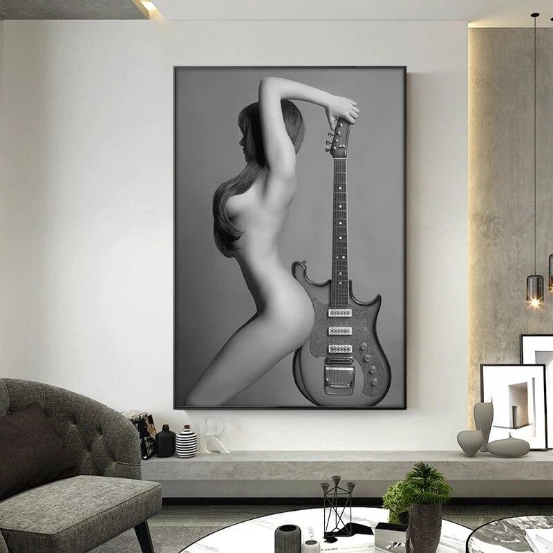Moderno nu arte pintura da lona sexy nua menina com guitarra impressões e posters cuadros parede fotos para sala de estar decoração casa