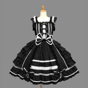 Image 4 - Classic Lolita Dress Womens Layered Cosplay Costume Cotton JSK Dress for Girl 10 Colors