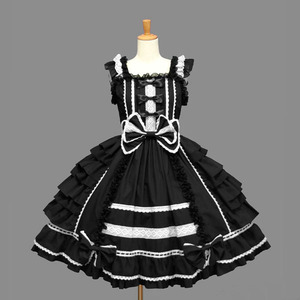 Image 4 - Klasik Lolita elbise kadın katmanlı Cosplay kostüm pamuk JSK elbise kız için 10 renk