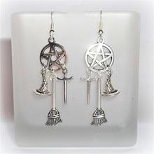 Wiccan Charm Earrings, Wicca, Pagan, Witch Earrings, Wiccan Tools, Besom, Sword, Fashion Women's Earrings