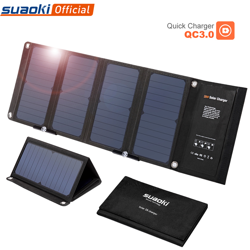 SUAOKI Solar Panel Foldable 28W Sun Charger QC 3.<font><b>0</b></font> <font><b>Quick</b></font> <font><b>Charging</b></font> 3 USB 3.1A Output Port Portable <font><b>4</b></font> Solar Panels for iPhone iPad image