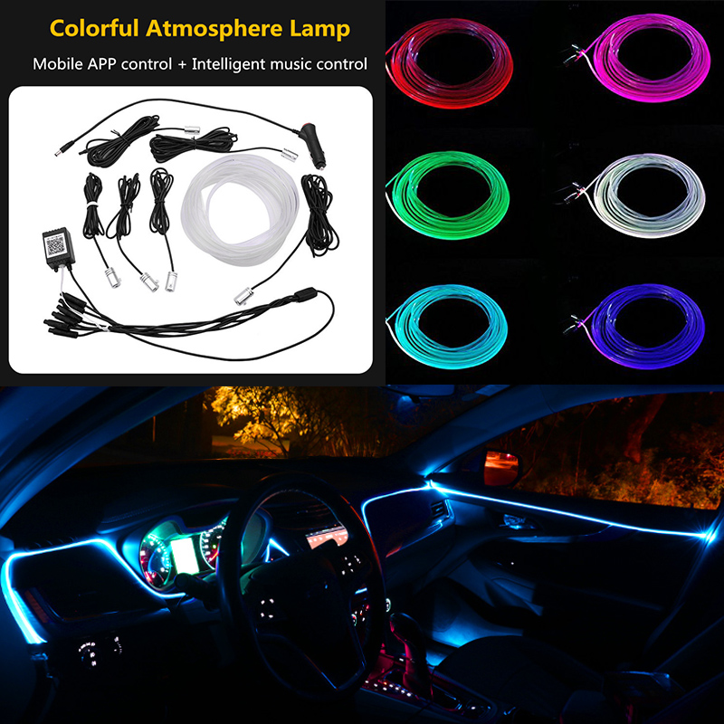 2019 New EL Neon Wire Strip Light RGB LED Sound Active Car Interior Light Multicolor Phone Control Car Atmosphere Light 12V