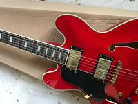 free shipping New F hole body Jazz red guitar with bigsby Hollow body Electric Guitar Left hand In stock Ship immediately 8 335