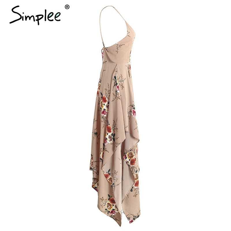Летнее женское платье Simplee, с цветочным принтом, длинное асимметричное платье в стиле бохо с глубоким V-образным вырезом, разрезом и открытой спиной, элегантное пляжное платье