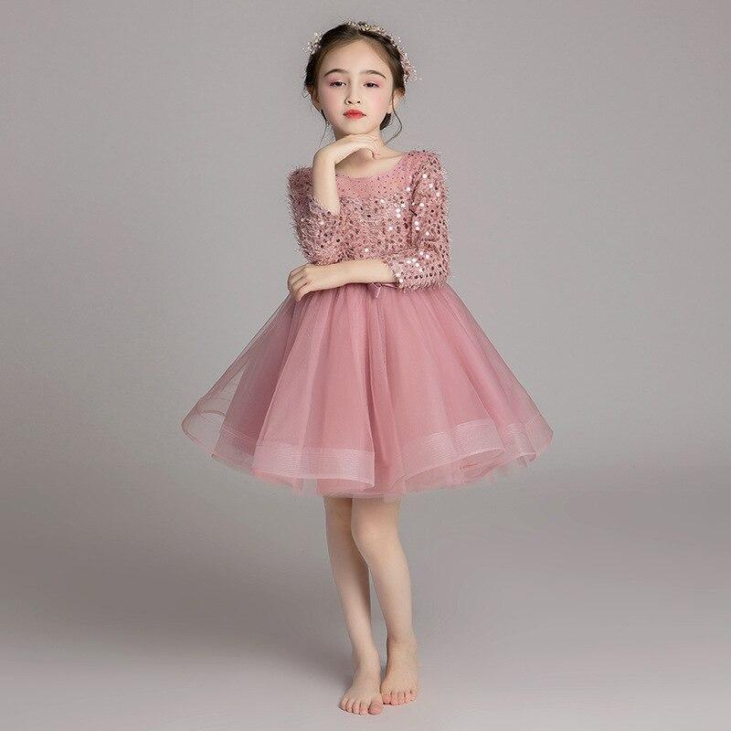 Filles à manches longues robe de soirée anniversaire princesse robe 2019 nouveau Style été fleur garçons/fleur filles Puffy fil Pian pour enfants