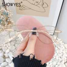 Simplicity Oversized Round Rimless Glasses Women Eye Glasses Myopia Prescription Frameless Eyeglasses Inlay Gold Powder 859(China)