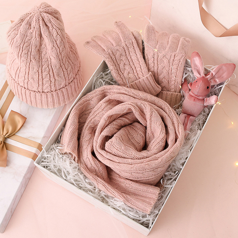 3PC Knitted Hat Scarf Glove Sets For Women's Winter Warm Wool Twist Cap Gorros Bonnet Solid Headband Knit Scarf New Year's Gift