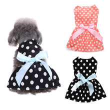 Polka Dot Ribbon Cat Dog Dress Clothes Comfortable Sleeveless Shirt Pet Beach Princess Party Kitty Skirt